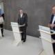 Diskutierten die Fragen der Teilnehmer*innen zur Rückführung deutscher Wiederaufarbeitungsabfälle aus dem Ausland (von links): Moderatorin Eva Grünbauer, Dr. Michael Hoffmann (BGZ) und Josef Klaus (Bürgermeister Niederaichbach). Foto: BGZ/Mirbeth.
